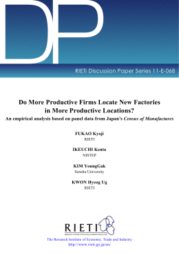 DP Do More Productive Firms Locate New Factories in More Productive Locations?