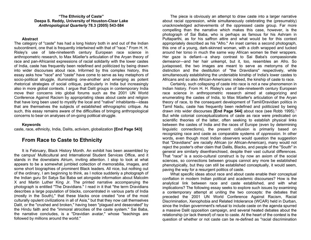 "The Ethnicity of Caste"" Deepa S  Reddy, University of Houston-Clear Lake"