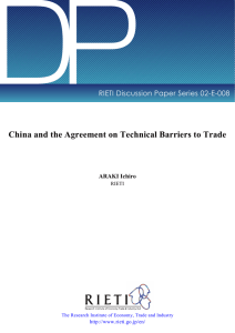 DP China and the Agreement on Technical Barriers to Trade ARAKI Ichiro