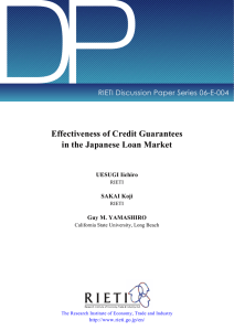 DP Effectiveness of Credit Guarantees in the Japanese Loan Market