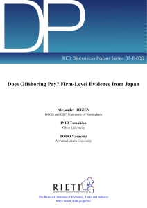 DP Does Offshoring Pay? Firm-Level Evidence from Japan Alexander HIJZEN