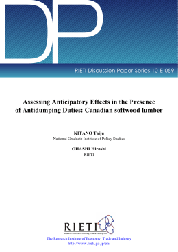 DP Assessing Anticipatory Effects in the Presence RIETI Discussion Paper Series 10-E-059