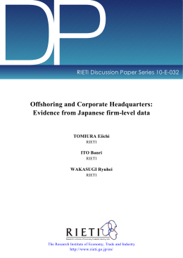 DP Offshoring and Corporate Headquarters: Evidence from Japanese firm-level data