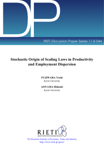 DP Stochastic Origin of Scaling Laws in Productivity and Employment Dispersion
