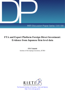 DP FTA and Export Platform Foreign Direct Investment: