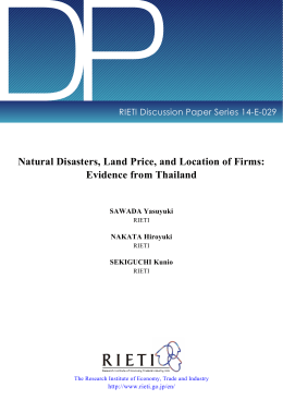 DP Natural Disasters, Land Price, and Location of Firms: Evidence from Thailand