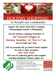 Support Girl Scout Troop 5037 in helping disadvantaged schools in Philadelphia.