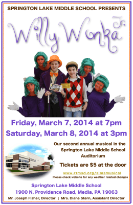 WillyWonka Jr . Friday, March 7, 2014 at 7pm