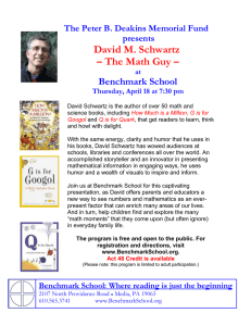 David M. Schwartz – The Math Guy – Benchmark School