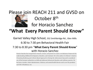 Please join REACH 211 and GVSD on October 8 for Horacio Sanchez