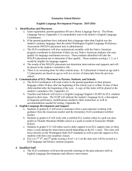 Enumclaw School District English Language Development Program   2015-2016