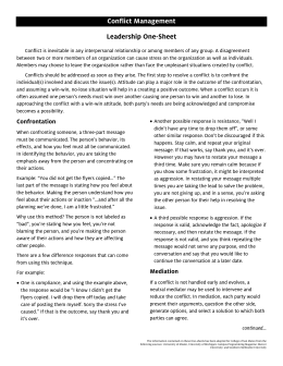Conflict Management Leadership One-Sheet