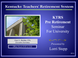 KTRS Pre Retirement Seminar For University