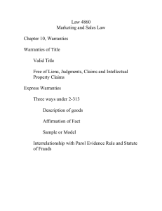 Law 4860 Marketing and Sales Law  Chapter 10, Warranties