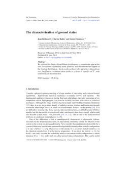 The characterization of ground states Jean Bellissard , Charles Radin and Senya Shlosman