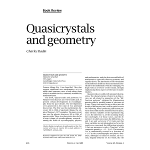 Quasicrystals and geometry Book Review Charles Radin