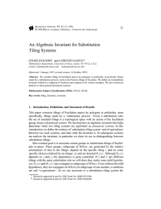 An Algebraic Invariant for Substitution Tiling Systems 21 CHARLES
