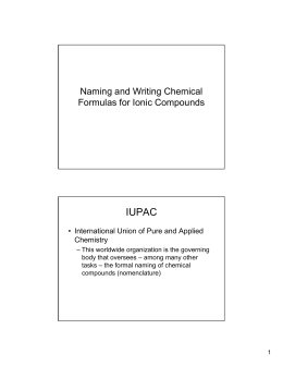 IUPAC Naming and Writing Chemical Formulas for Ionic Compounds