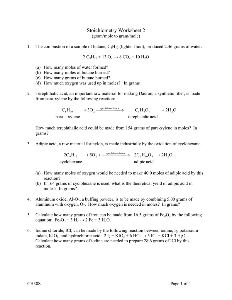Stoichiometry Worksheet 2