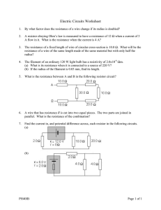 Electric Circuits Worksheet