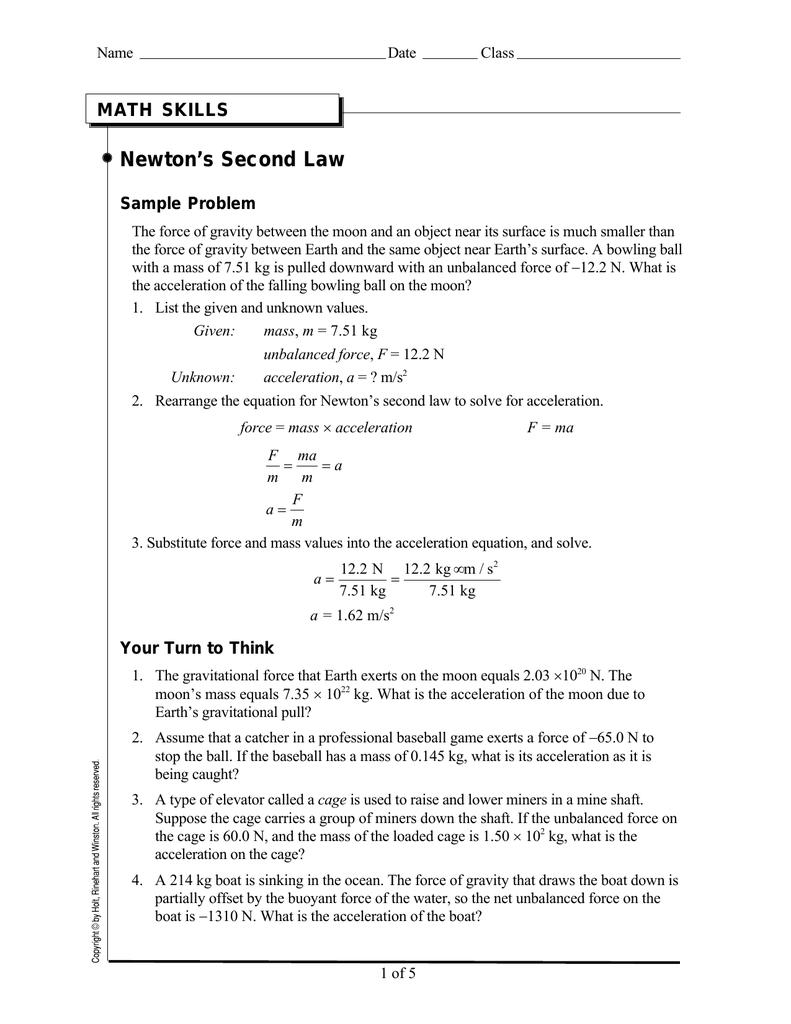 Newtons Second Law MATH SKILLS Sample Problem – F Ma Worksheet