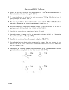 Gravitational Fields Worksheet