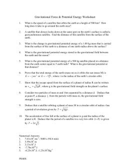 Gravitational Potential Energy Worksheet: gravitational force potential energy and potential worksheet,