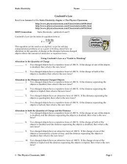 Coulomb's Law Worksheet - Methacton School District