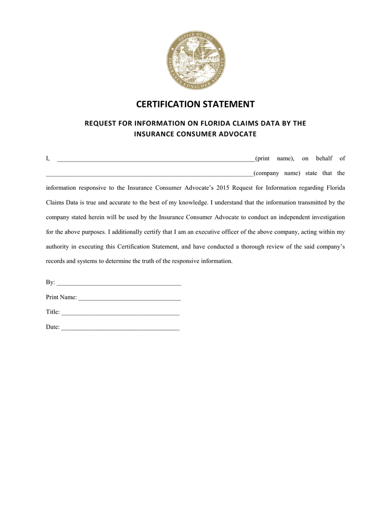 Certification Statement Request For Information On Florida Claims