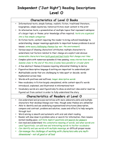 "Level O Independent (""Just Right"") Reading Descriptions Characteristics of Level O Books"