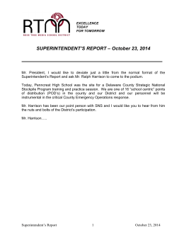 SUPERINTENDENT'S REPORT – October 23, 2014