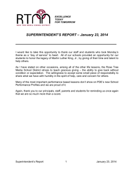 SUPERINTENDENT'S REPORT – January 23, 2014