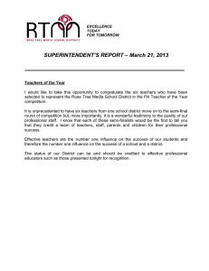 SUPERINTENDENT'S REPORT – March 21, 2013