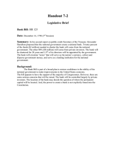 Handout 7-2 Legislative Brief  Bank Bill: