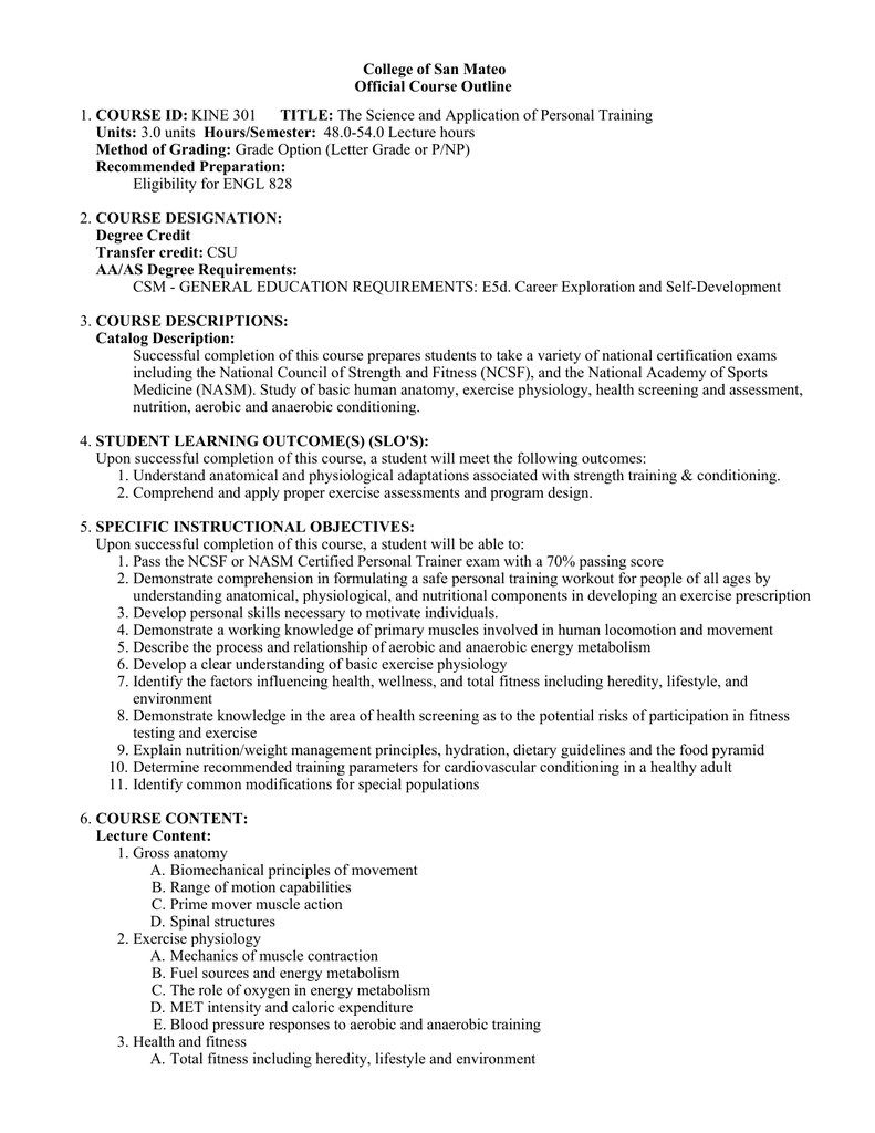 College Of San Mateo Official Course Outline Course Id Units
