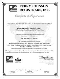 PERRY JOHNSON REGISTRARS, INC. Cornell Dubilier Marketing, Inc. ISO 9001:2008 and AS9100C