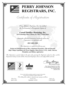 PERRY JOHNSON REGISTRARS, INC. Cornell Dubilier Marketing, Inc. ISO 14001:2004