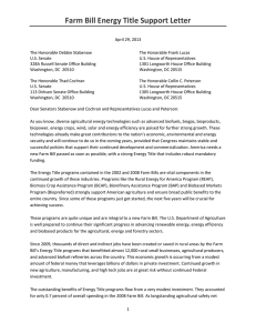 Farm Bill Energy Title Support Letter