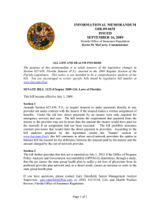 INFORMATIONAL MEMORANDUM OIR-09-06M ISSUED SEPTEMBER 16, 2009