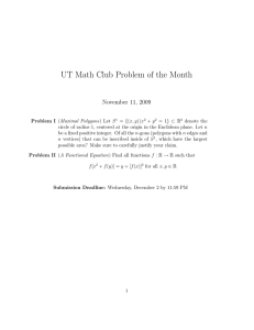 UT Math Club Problem of the Month November 11, 2009