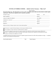 "ENUMCLAW MIDDLE SCHOOL    Athletic/Activity Clearance – ""Blue..."