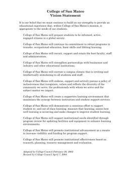 College of San Mateo Vision Statement
