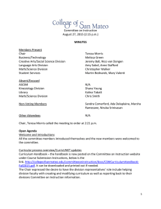Committee on Instruction August 27, 2015 (2:15 p.m.) Members Present