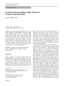 Do Market Returns Influence Risk Tolerance? Evidence from Panel Data