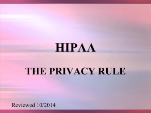HIPAA THE PRIVACY RULE Reviewed 10/2014