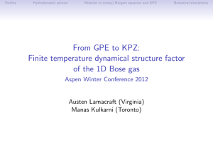 From GPE to KPZ: Finite temperature dynamical structure factor