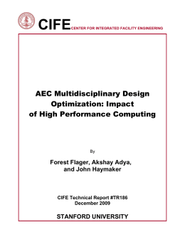 CIFE  AEC Multidisciplinary Design Optimization: Impact