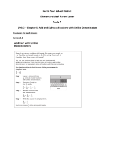 North Penn School District Elementary Math Parent Letter Grade 5