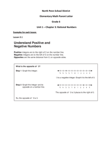 North Penn School District Elementary Math Parent Letter Grade 6