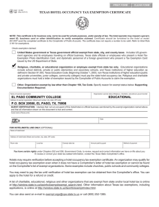 TEXAS HOTEL OCCUPANCY TAX EXEMPTION CERTIFICATE PRINT FORM CLEAR FORM